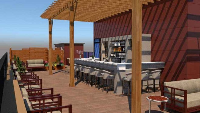A rendering of a rooftop restaurant and bar addition proposed for a building at 734 S. Main St., Greenville.