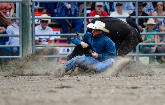 Augusta's very own Ross Mosher competes in the steer wrestling event during the American Legion Pro Rodeo Sunday.