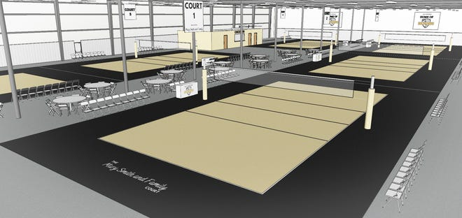 An artist rendering of the soon to be opened volleyball complex at 4105 Haggerty Lane in Lafayette.