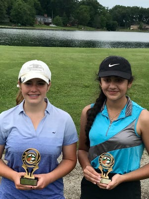 Pleasant golf teammates Maura Murphy, left, and Dina Shah finished first and second respectively during last week's Heart of Ohio Junior Golf Association stop at Marysville Golf Club.