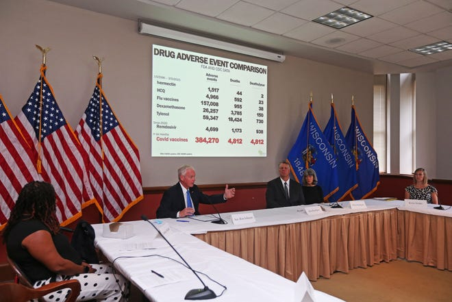 U.S. Sen. Ron Johnson holds press conference with families from across the country to talk about adverse reactions that some families have experience after taking a COVID-19 vaccine on Monday, June 28,, 2021 at the Federal Courthouse.