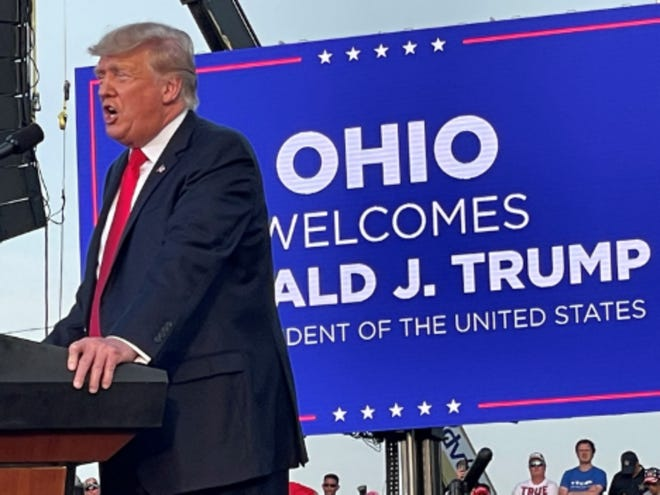 Donald Trump speaks to guests during a rally in Ohio on Saturday, June 26. 2021.