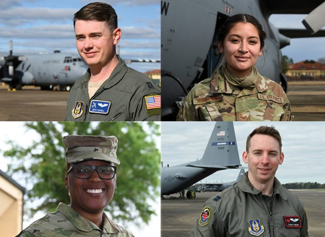 Members of the 908th are clockwise from top left, Capt. Seth Capell, Senior Airman Yesenia Vasquez, Capt. Jason Towery, and  Senior Master Sgt. Ce'Drea Young.