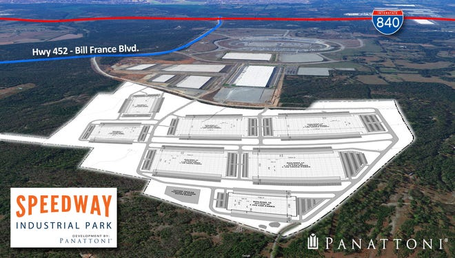 The latest site map for Speedway Industrial Park's expansion plan after Panattoni Development Company purchased additional land to nearly double its footprint.