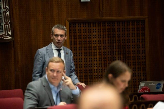 Rep. Aaron Lieberman, D-Paradise Valley, observes  members on the House floor debating several bills on June 28, 2021.