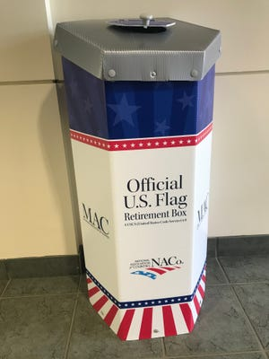 A flag retirement box was installed in the St. Clair County Administration Building Monday.