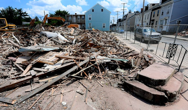 Debris from the building that once housed theold Philly Cafe sits at the corner of Philadelphia and Hartley streets in York City Monday, June 28, 2021. The building was demolished over the weekend. Bill Kalina photo