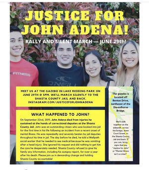 """Flier for """"Justice for John Adena"""" rally and silent march"""