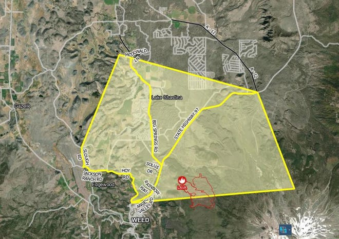 Map of the Lava Fire evacuation warning areas as of Monday (June 28, 2021).