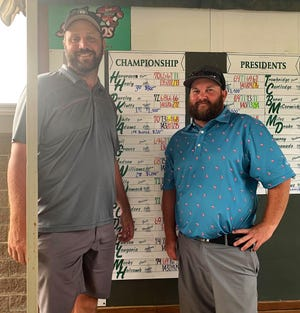 Former Midwestern State University teammates Travis Klutts, left, and A.J. Pursley won the Championship Flight at the San Angelo Country Club Men's Partnership on Sunday, June 27, 2021.  Pursley is a 2005 graduate of San Angelo Central High School.
