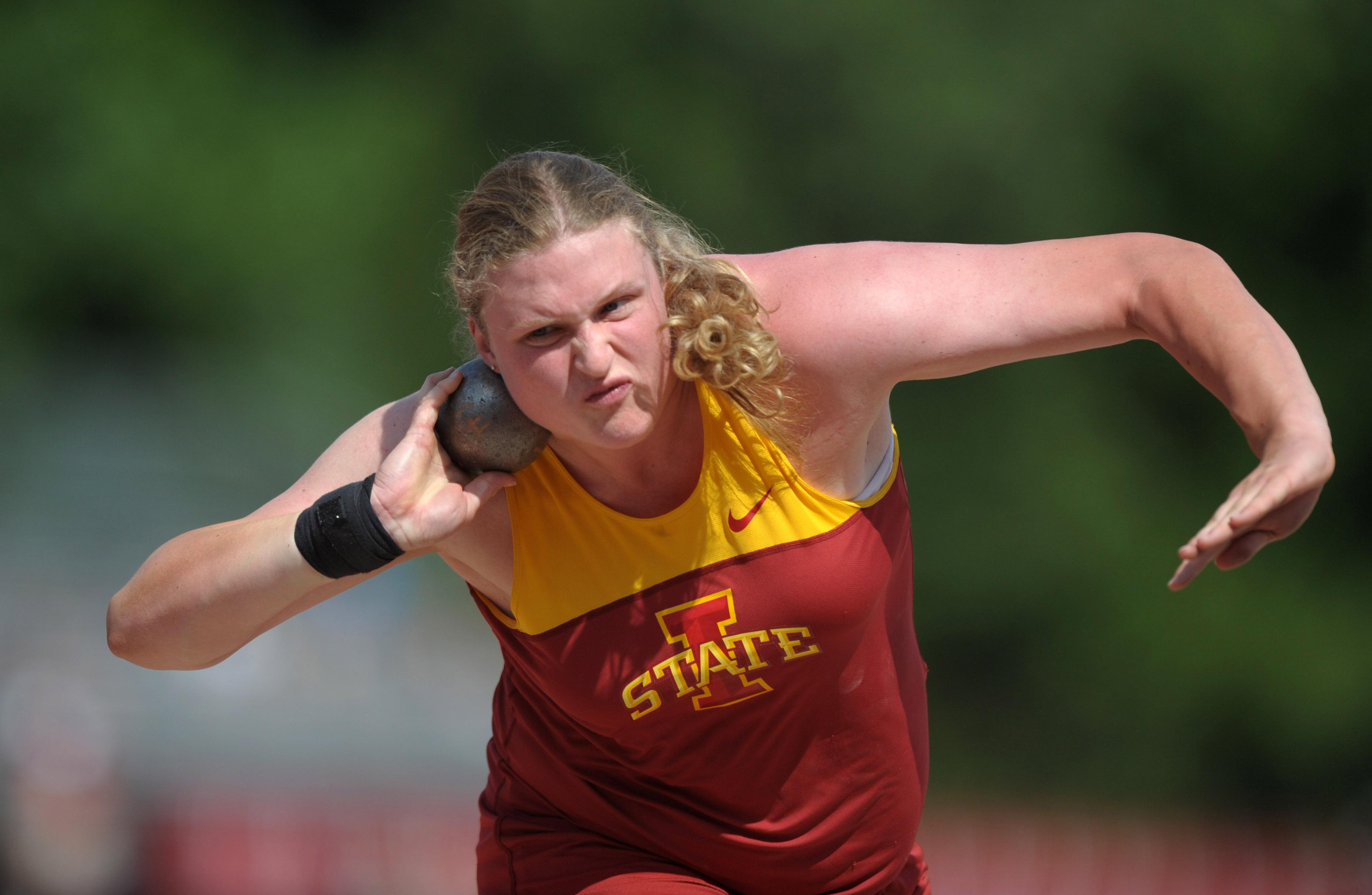 St. Thomas More graduate Christina Hillman wins the women?s shot put at the USA Junior Championships in 2012.