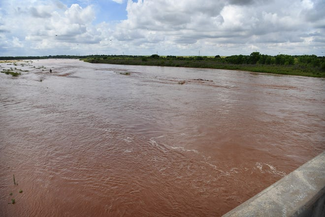 Looking east on the Red River near Burkburnett. The river is expected to rise above flood stage this Monday evening.