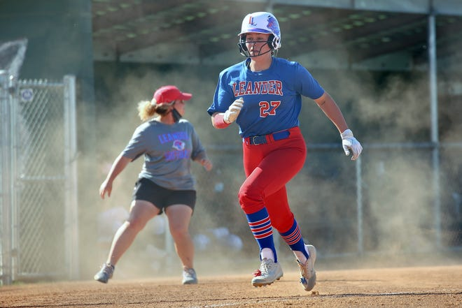 Leander's Baylea Brandon races home to score in a district game against Cedar Park. The all-Centex player of the year, a four-year starter and Louisiana State University commit, hit .495 with 16 home runs and 60 RBIs for the Lions.