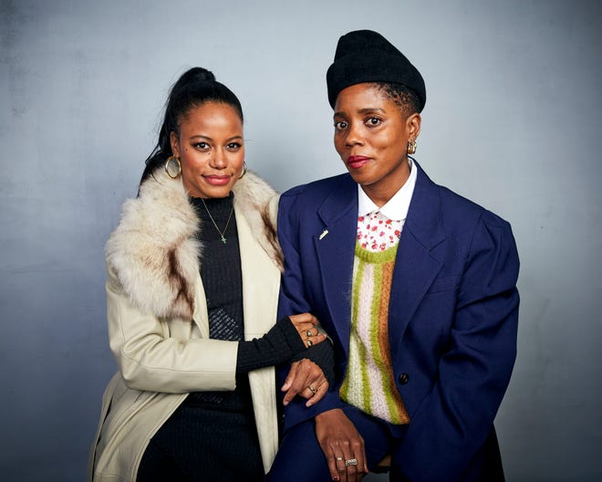 """FILE - Taylour Paige, left, and writer / director Janicza Bravo pose for a portrait to promote the film """"Zola"""" during the Sundance Film Festival on January 25, 2020 in Park City, Utah."""