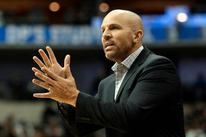 In this Nov. 18, 2017, file photo, Milwaukee Bucks head coach Jason Kidd looks at an official after a foul was called against his team in the second half of an NBA basketball game against the Dallas Mavericks in Dallas. Kidd is coming back to Dallas again, this time to replace the coach he won a championship with as the point guard of the Mavericks 10 years ago.