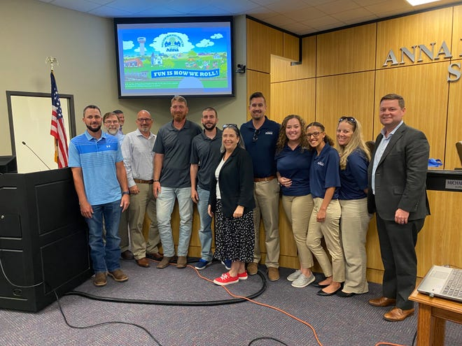 The Anna City Council issued a proclamation designating July as Parks and Recreation Month. The entire department was recognized during the June 22 council meeting. From left: Matt Lewis, Marc Marchand, Dalan Walker, JamesMcCoullough, Cody Tyson, Elise Bowers, Jeff Freeth, Caitlin Stone, Leah Kelly, Julie Owen-Shivers and Mayor Nate Pike.