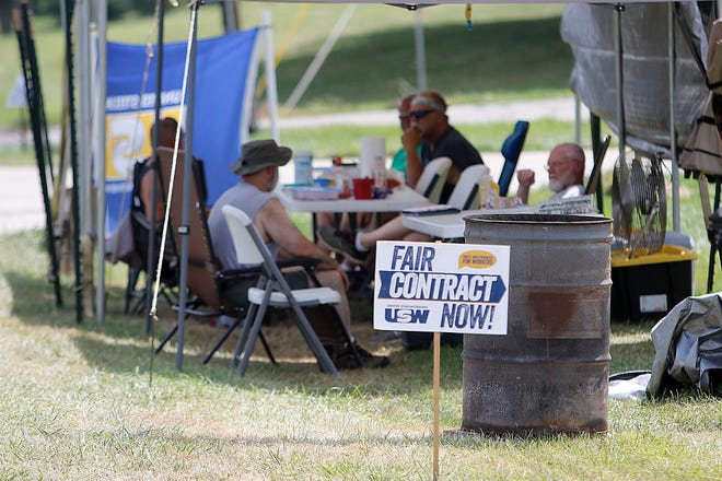 United Steelworkers Union 7008 are on strike at Custom Hoists in Hayesville for a fair contract seen here on Tuesday, June 29, 2021. TOM E. PUSKAR/TIMES-GAZETTE.COM