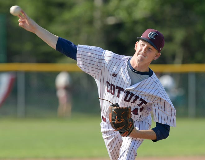 Cotuit starter Jake Smith delivers against Hyannis. He struck out 10 without allowing a run through five innings in the Kettleers' victory Monday night.