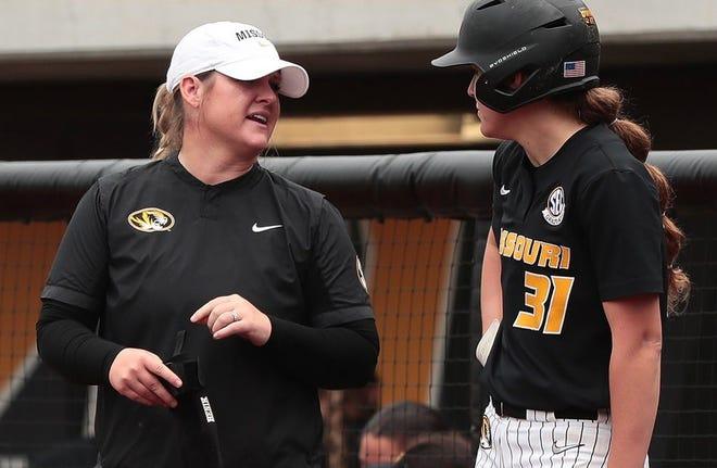 Sara Marino, left, has been promoted to associate head coach of Missouri softball.