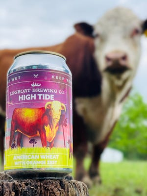 A can of Logboat Brewing's High Tide sits near the inspiration for its design.