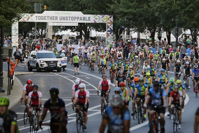 Columbus police watch the start of the 11th Pelotonia in Columbus on Aug. 3, 2019.