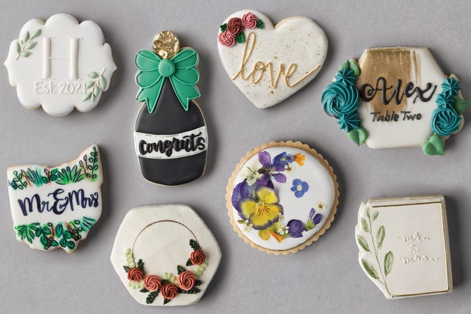 Top row, left to right, cookies by Made by Maggie, Cookie Lady Columbus, Christine's Cookies, Plenty O'Cookies; bottom row, left to right, cookies by Our CupCakery, The Suisse Shop Bakery, Jan Kish La Petite Fleur, Bakes by Lo