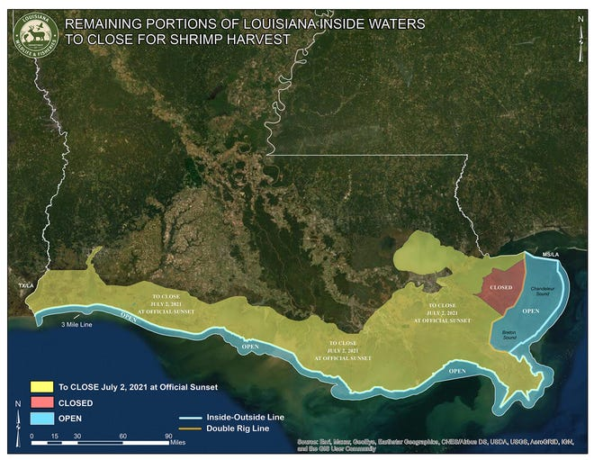 A map shows the areas to be closed to shrimp fishing at sunset Friday.