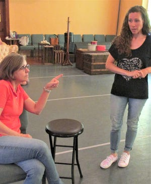 Georgia Jaeb as Aunt March gives Rachel Miller (Jo March) a good talking to during rehearsal for Little Women.  The show takes the stage at Ohio Star Theater Friday, Saturday and Sunday, July 9-11.