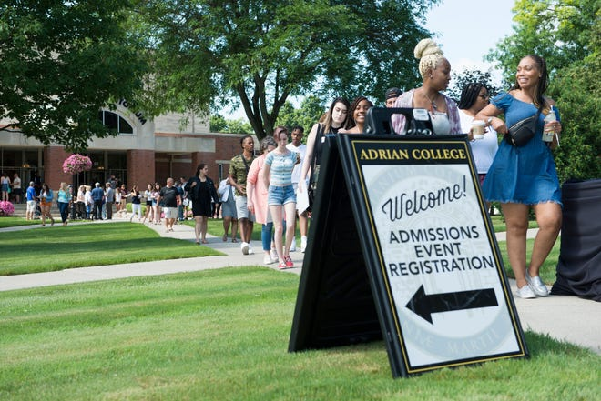 Incoming Adrian College students, along with their guests and family members, exit Dawson Auditorium to check out the Adrian College campus during a previous year's Sneak Peek Day. Sneak Peek days are coming back to Adrian College July 8-9.