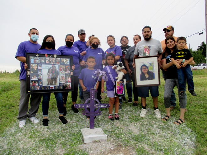 The family of Vanessa Guzman, who died Jan. 25, 2020, after being in a crash involving a Dodge City Police Department officer, honored her memory at the crash site Monday in Dodge City.