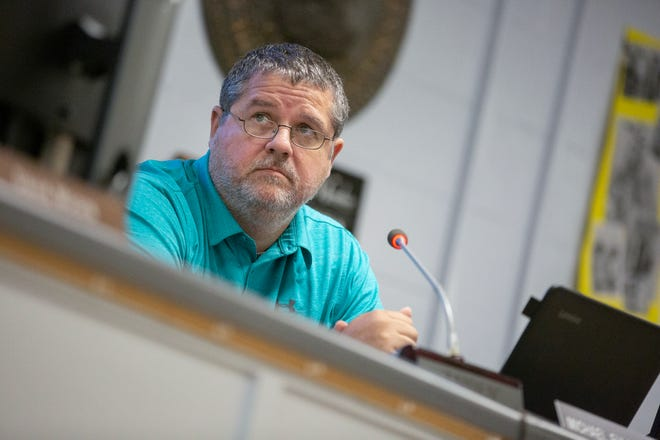 Maury County Public Schools Board of Education Chairman Michael Fulbright leads a special-called meeting at Horace O. Porter School in Columbia, Tenn., Monday, June 28, 2021
