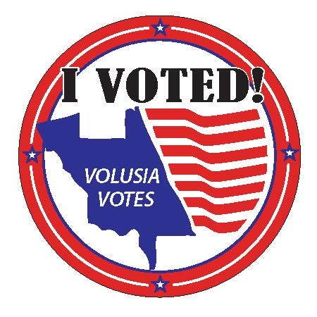 """This """"I voted"""" sticker design won a contest sponsored by Volusia County Supervisor of Elections Lisa Lewis. The winning entry was submitted by Erin Maciejewski of DeBary."""