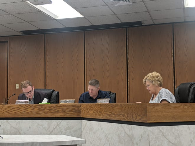 Lawrence County Commissioners officially ended the county's COVID-19 emergency declaration this week. Pictured, from left to right are Commissioner Morgan Boyd, County Administrator Joseph Venasco, and Commissioner Loretta Spielvogel.