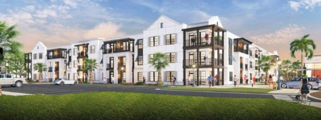 A rendering shows the proposed 427-unit multifamily apartment complex planned for the site of Adventure Landing Jacksonville Beach, which must close by Oct. 31, according to bankruptcy court documents.