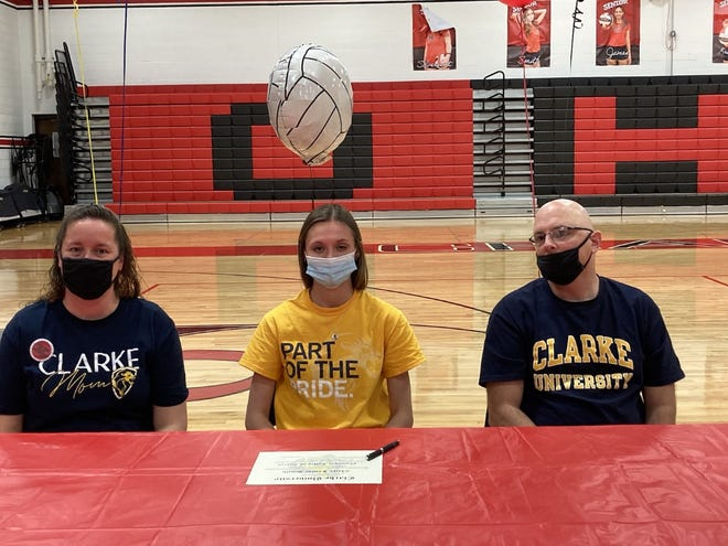 On Friday, May 7, Orion High School senior Claire Smith signed a letter of intent to play volleyball at Clarke University. Flanking Smith are her parents, Tiffani and Tim Smith.