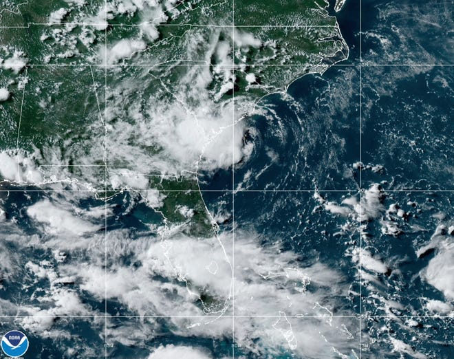 This satellite image provided by the National Oceanic and Atmospheric Administration shows Tropical Storm Danny making landfall along the East Coast, Monday, June 28, 2021 at 5:40 p.m. (NOAA/NESDIS/STAR GOES via AP)