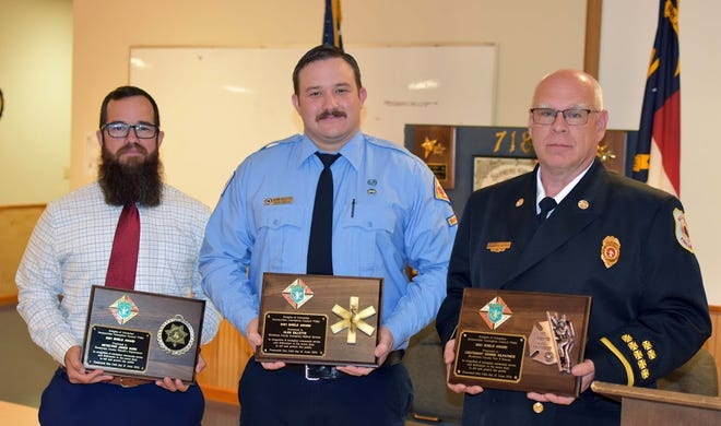 (From left to right are Detective James Hurn, Glen Gillette and Lt. Donnie Kilpatrick at the 29th annual Shield Awards.