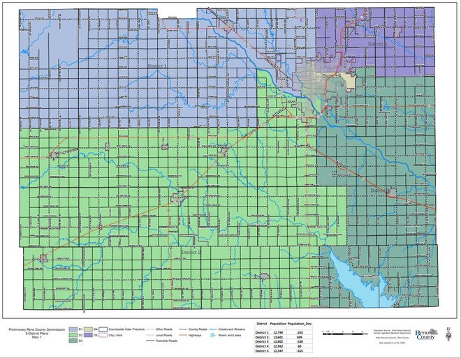 This is Map 7, one of three the Reno County Commission will consider adopting as the new commission district boundaries if voters approve an expansion question in November. The board will have to decide on the final map in advance, of the election, so its boundaries can be on the ballot question.