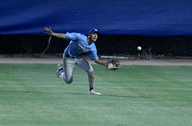 Hutchinson Monarch's Tanner Schrag makes the catch in right field during their second game against the Haysville Aviators Monday night at Hobart-Detter Field.