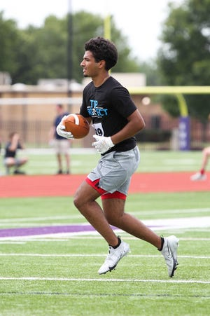 Hutchinson High's Noah Khokhar participates in the Sharp Performance Top Prospect football camp at Kansas Wesleyan University in Salina.