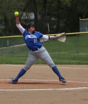 Shown is Leavenworth pitcher Landri Lopez. The incoming senior was named to the Sports in Kansas All-State honorable mention team for her junior season.