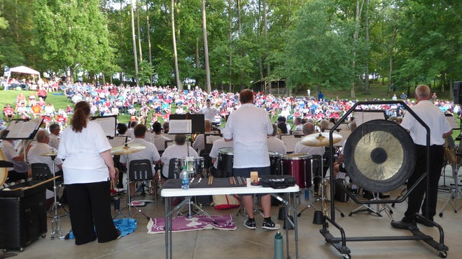The Oak Ridge Community Band will perform prior to the fireworks show on Sunday night, July 4, 2021, at the Pavilion at A.K. Bissell Park. Bring a chair or blanket to sit on. This photo was from the 2019 concert.