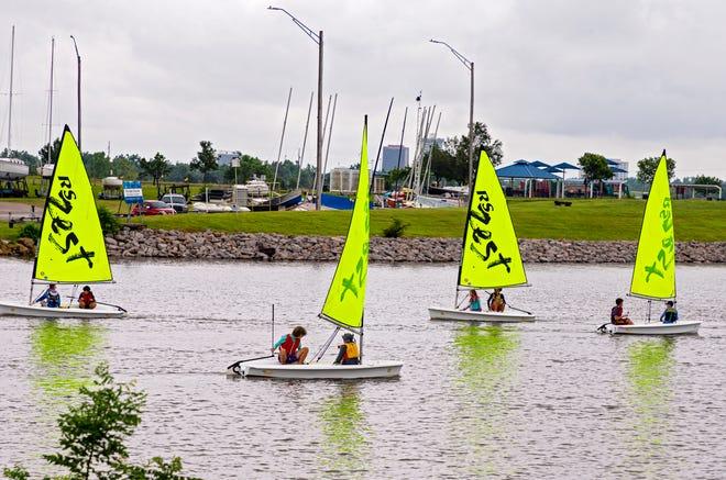 Sailboats take to the water Tuesday at Lake Hefner in Oklahoma City.