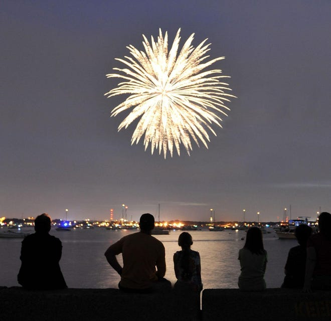 A family watches fireworks in Hingham during a July 4 celebration.
