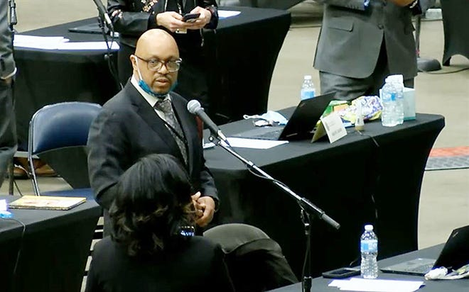 State Rep. Thaddeus Jones, D-Calumet City, is pictured on the floor of the Bank of Springfield Center during the lame duck legislative session in January. Jones was elected mayor of Calumet City in April but his status is being challenged in light of a referendum that passed in the city preventing the mayor from serving in the General Assembly.