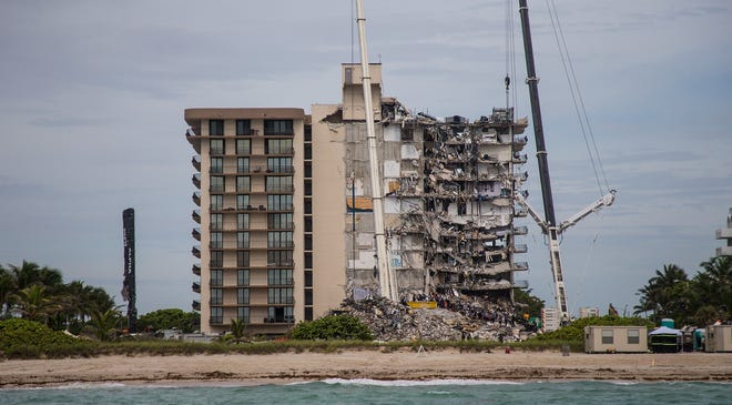 The collapsed Champlain Towers south condo in Surfside, on Tuesday.