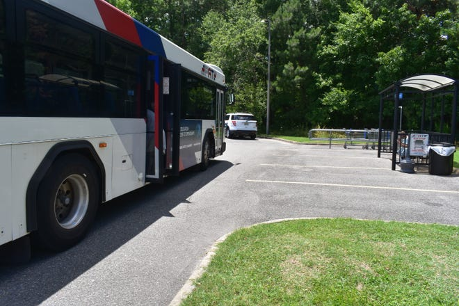 The new Walmart bus stop for Petersburg Area Transit sits near a back corner of the South Crater Road store. Some residents and riders were concerned about elderly residents having to walk so far to the main entrance.