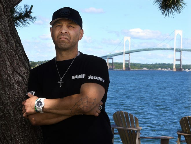 """""""It breaks my heart when I know that someone else is in those black moments of thought that I was was in — and I could still be in at any time,"""" said Mark Gonsalves, recalling what led to his 2015 jump from the Pell Bridge, seen in background."""