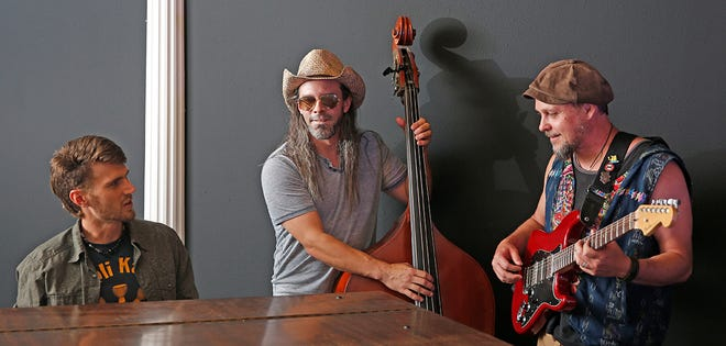 The band Left on Wilson, comprising Cameron Wick, from left, Josh Nodarse and Page Taylor, is one of the bands performing in the virtual concert for the Oregon Country Fair this year.