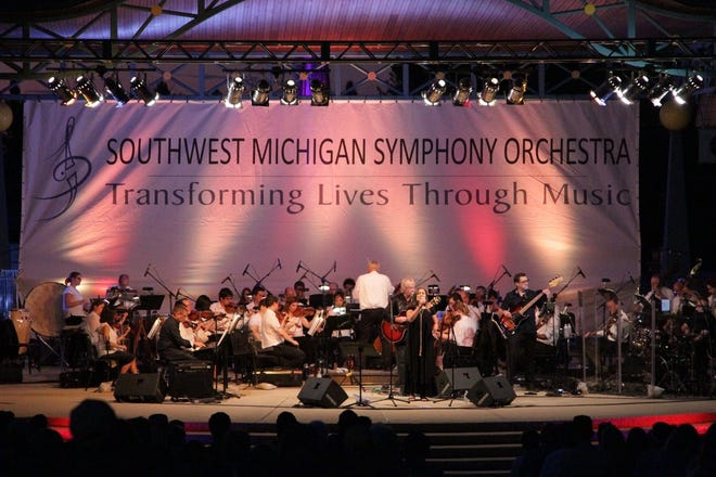 Shown performing at Shadowland Pavilion at Silver Beach in St. Joseph, the Southwest Michigan Symphony Orchestra will perform there again July 17, 2021, with a program of Broadway songs.